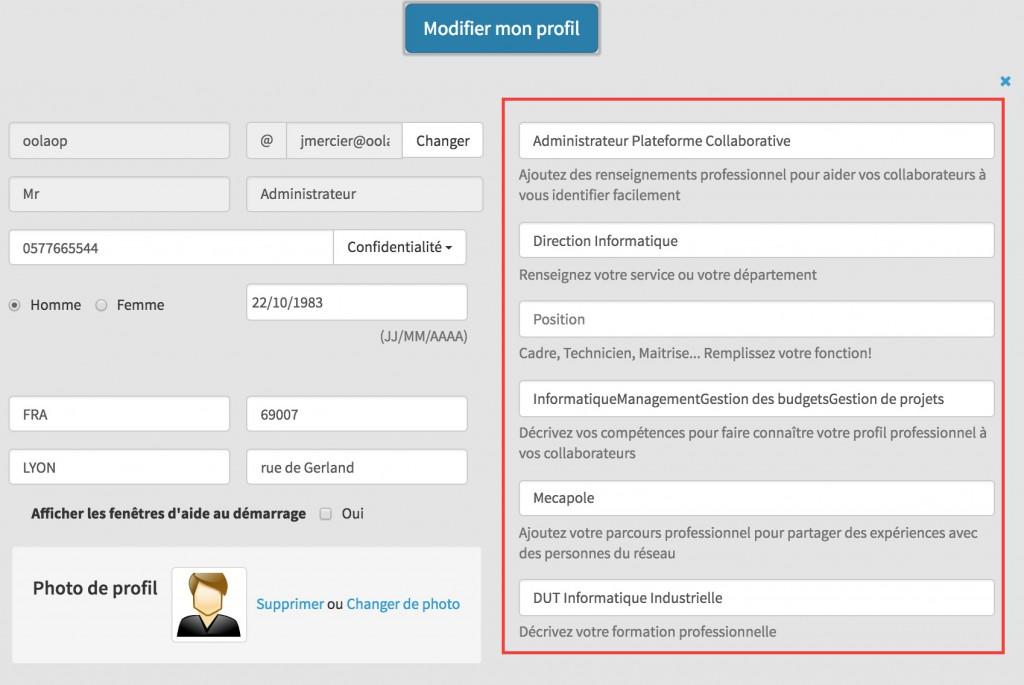 Champs personnalisés sur la modification de profils